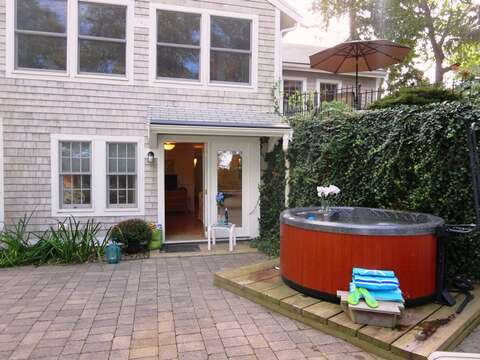 Easy access to the hot tub from the lower level suite - 21 Beechwood Road Centerville Cape Cod New England Vacation Rentals