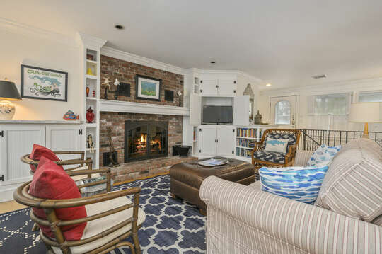 Living room ( fireplace not guest use)21 Beechwood Road Centerville Cape Cod New England Vacation Rentals