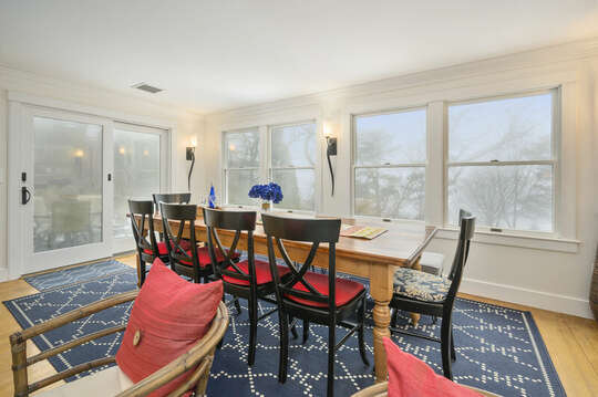 Dining table and slider to patio-21 Beechwood Road Centerville Cape Cod New England Vacation Rentals
