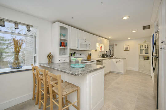 Large kitchen with breakfast bar-21 Beechwood Road Centerville Cape Cod New England Vacation Rentals
