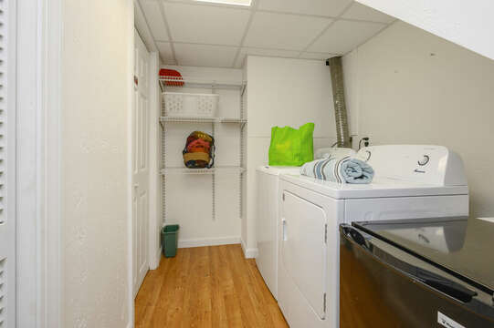Laundry room in lower level-21 Beechwood Road Centerville Cape Cod New England Vacation Rentals