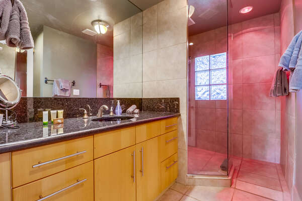 Bathroom with heat lamp in shower