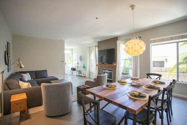 Light and Bright with Open Floor Plan of this San Diego vacation home rental, with view of dining area and living area.