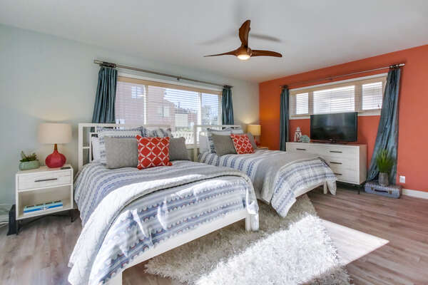 Twin Bedroom in our Waterfront San Diego Rental is Great for Kids