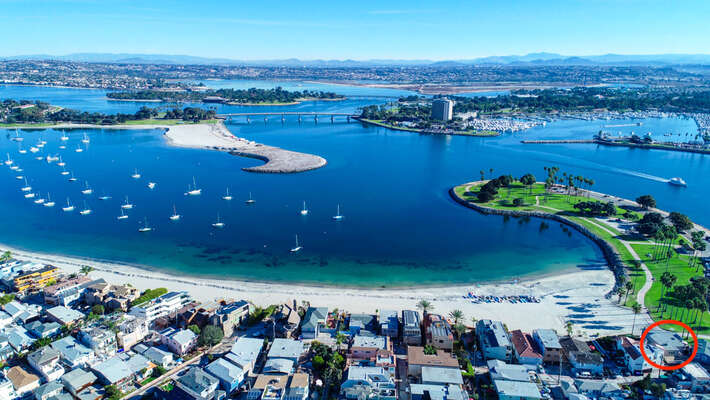 Aerial View of the Bay and our Waterfront San Diego Rental's Location