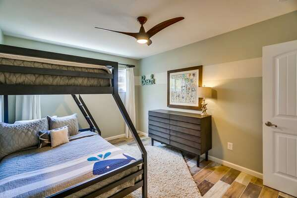 Additional View of the Bunk Bedroom with a Ceiling Fan