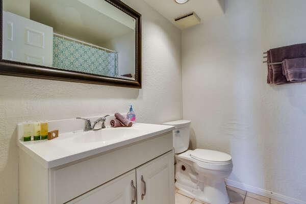 Single Sink Vanity, Mirror, and Toilet.