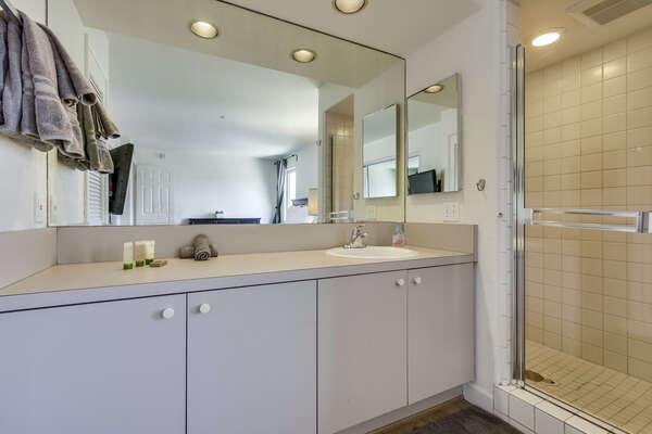Single Sink Vanity, Mirror, and Walk-In Shower.