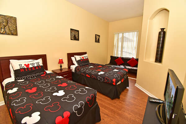 Bedroom 4 has twin beds, sofa and flatscreen with xBox