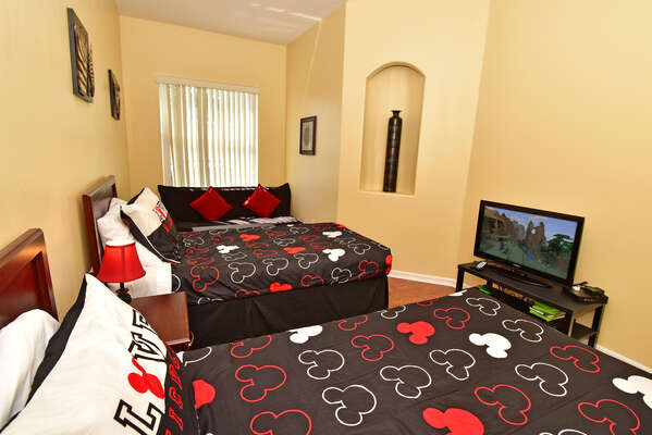 Bedroom 4 showing flatscreen TV and Xbox console