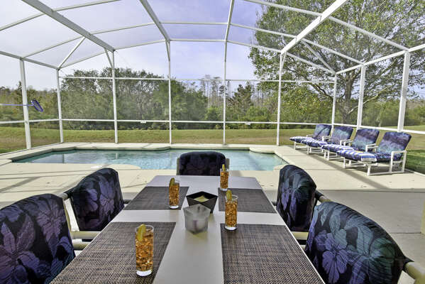 Shaded lanai with patio table seating six