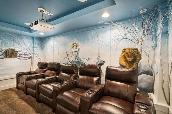 The home theater has amazing murals of Jadis, the White Witch, and Aslan