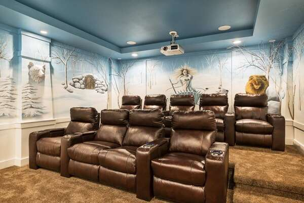 Immerse yourself in the magic of the movies in this amazing upstairs home theater inspired by The Chronicles of Narnia