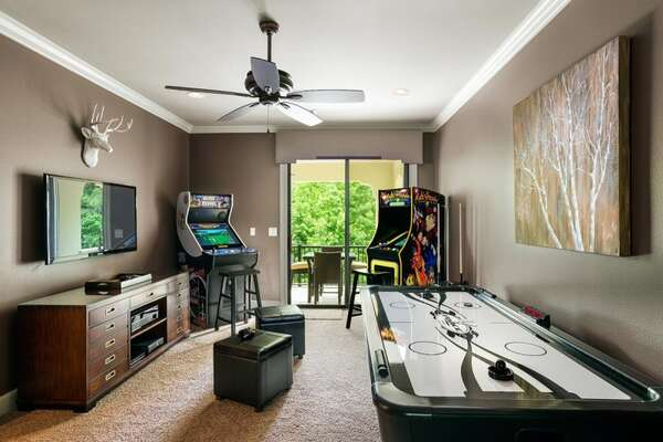 See if you can achieve the highest score in the upstairs game room arcade, no quarters required