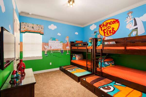 Kids can join Phineas and Ferb on their quirky new project or help Agent P outsmart Dr. Doofenshmirtz in upstairs bedroom 9