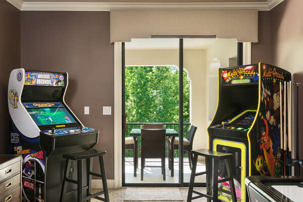 The games area has a variety of arcade game options