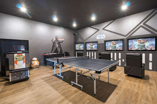 The games room features four 42-inch SMART TV, PlayStation 4, Xbox One, and Star Wars Arcade