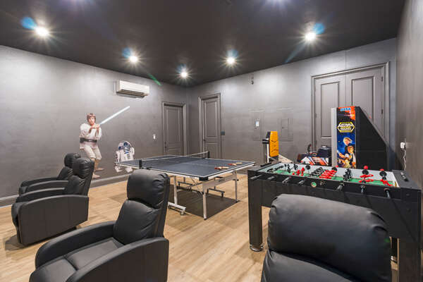 The air-conditioned games room also features a ping ball and foosball table