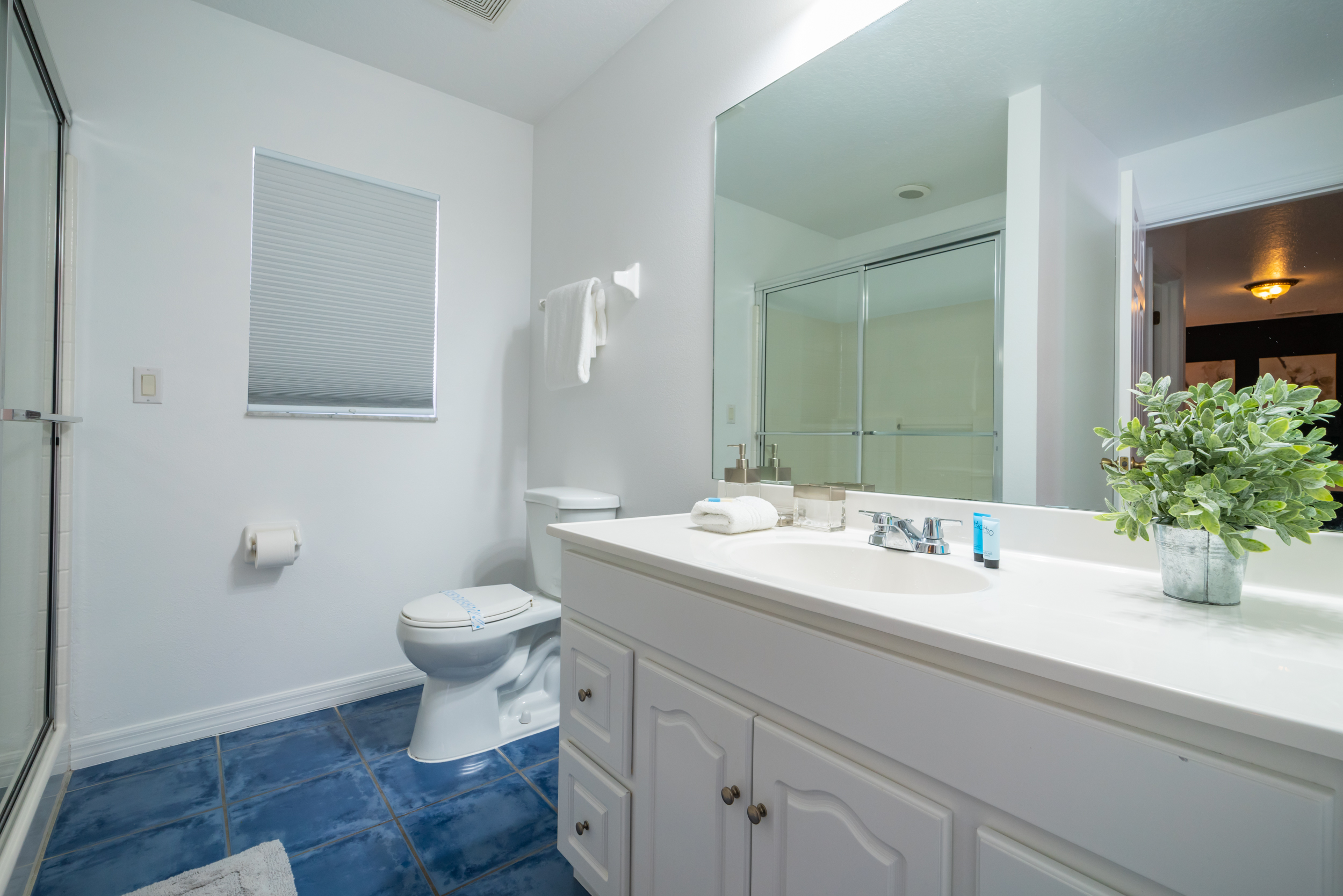 Master bath with stand up shower and single sink vanity