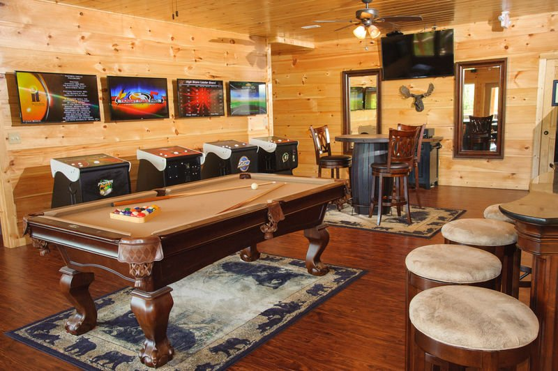 Pool Table, Table, Chairs, Game Tables, Stools, and TV.