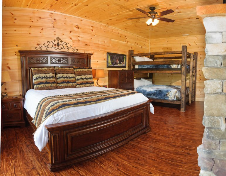 Large Bed, Dresser, Bunk Bed, Nightstands, and Lamps.