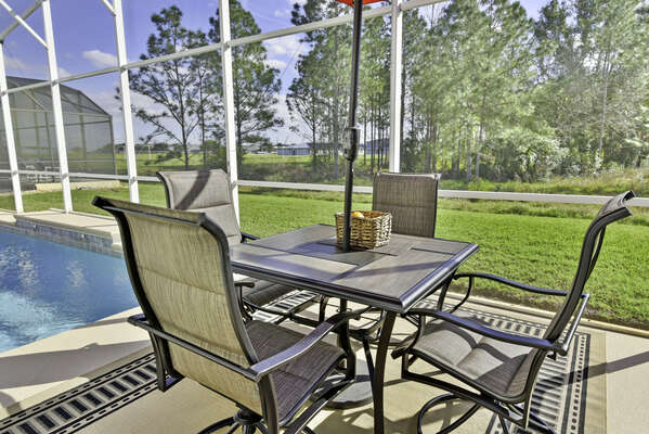 Patio set overlooking conservation