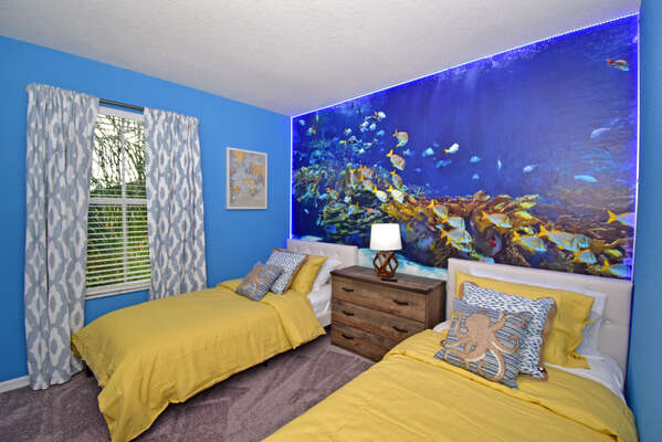 Bedroom 3 has an under water theme
