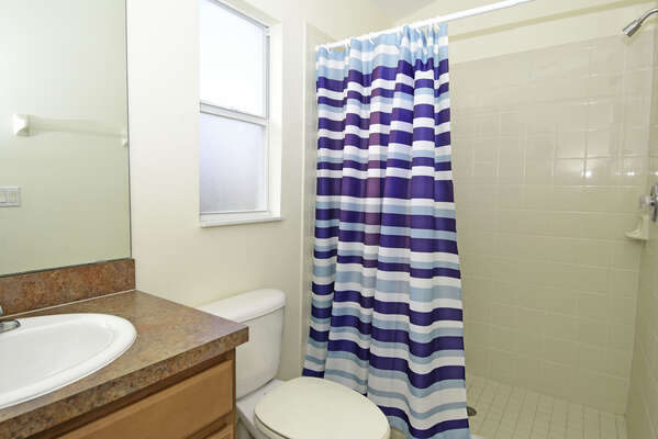 Pool bathroom.  Only accessible from patio deck.