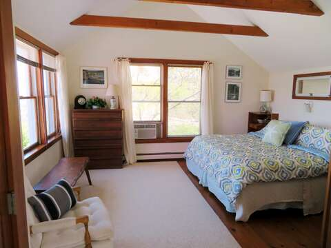 Master bedroom with King size bed off of main entry way-This bedroom offers great views!!-299 Cranberry Lane North Chatham Cape Cod New England Vacation Rentals