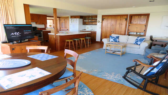 view of family room With Flat Screen TV off kitchen-299 Cranberry Lane North Chatham Cape Cod New England Vacation Rentals