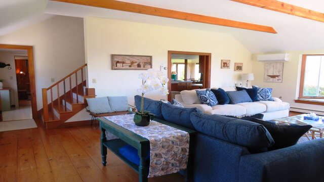 Back thru Living room -stairs to 2nd floor-299 Cranberry Lane North Chatham Cape Cod New England Vacation Rental