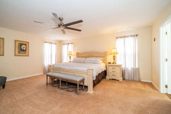 Master bedroom has a king size bed  (All bedrooms are upstairs)