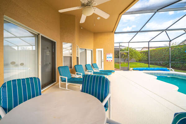 Patio area showing table and loungers