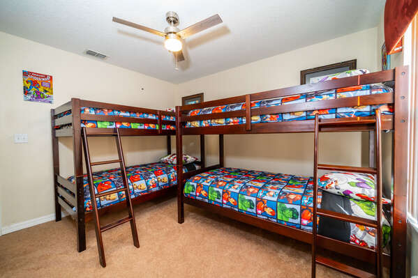 Bedroom 3 has two sets of single bunk beds