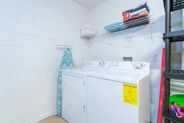 Laundry machines are also in the garage