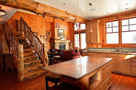 The open floor plan allows the conversation to flow throughout the lodge.
