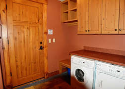 There is a  fully stocked laundry room.