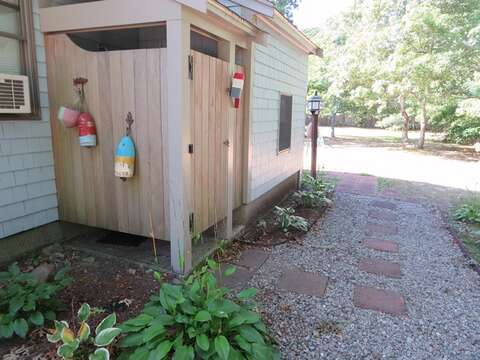 Enclosed outdoor shower - 156 Beach Plum Lane Brewster Cape Cod New England Vacation Rentals