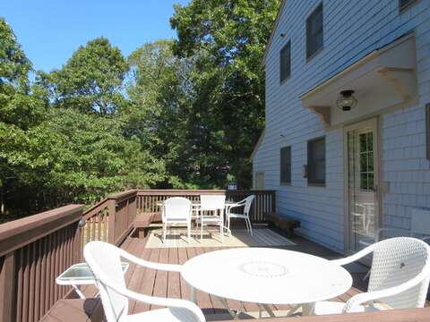 Back deck -right off of kitchen-large table seats six and cocktail table seats 2-4- 156 Beach Plum Lane Brewster Cape Cod New England Vacation Rentals
