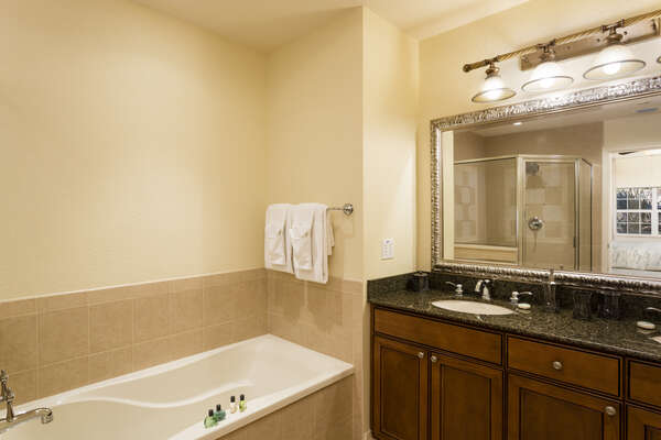 The master bath offers granite counter tops