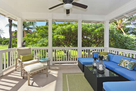 Spacious Deck Overlooking the Golf Course at Our Ko Olina Resort Vacation Rental.