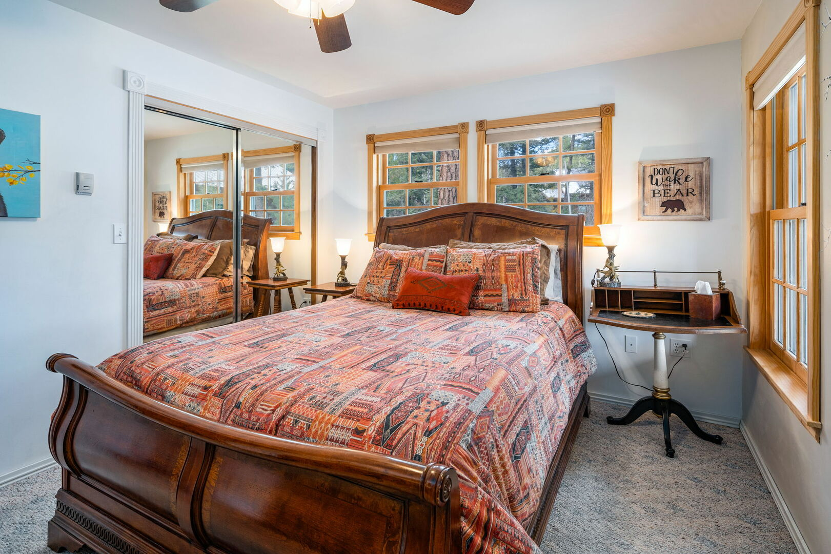 Master bedroom with queen located on main level of home