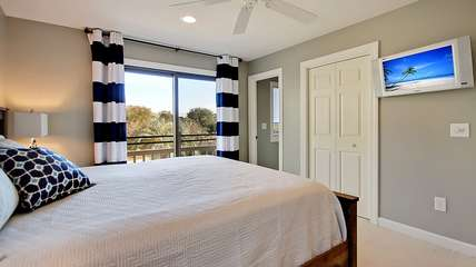 The bedroom has a TV and private bath for your use.