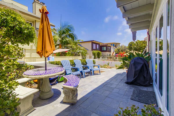 Outdoor Patio with deck chairs at this san diego vacation home rental