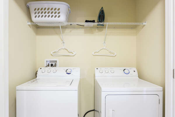 The villa has a private washer and dryer