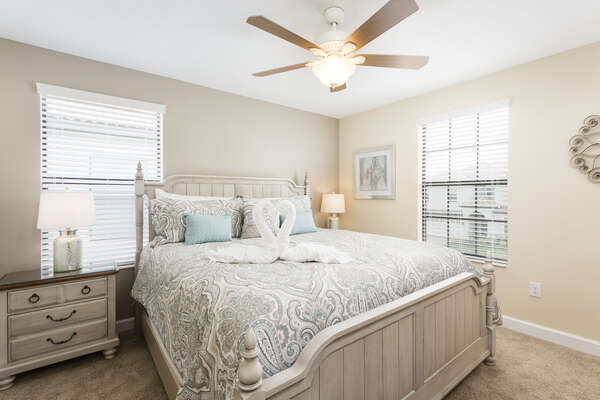 Kick back in your comfortable king bed with overhead ceiling fan