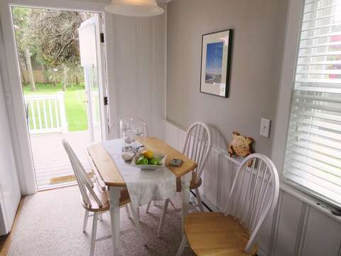 Easy access from deck to dining area-767 Route 28 #5 Harwich Port Cape Cod New England Vacation Rentals
