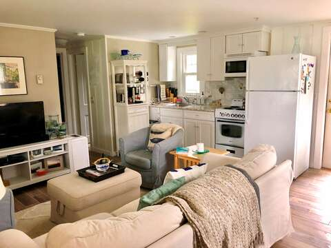 Open style living -view of living and kitchen area-767 Route 28 #5 Harwich Port Cape Cod New England Vacation Rentals