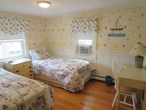 Bedroom # 2 with 2 Twin beds and a/c unit. - 13 Garden Lane Dennisport Cape Cod New England Vacation Rentals