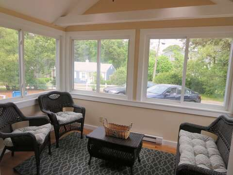 Enclosed porch where you can enjoy your favorite libation! - 13 Garden Lane Dennisport Cape Cod New England Vacation Rentals